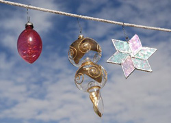 Ornaments on a clothsline